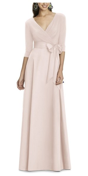 Alfred Sung jersey bodice a-line gown in blush - Timeless and elegant, this floor-length gown is tailored...