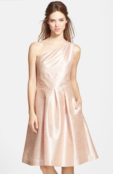 Alfred Sung one shoulder dupioni fit & flare dress in pearl pink - A shirred one-shoulder bodice above a full...