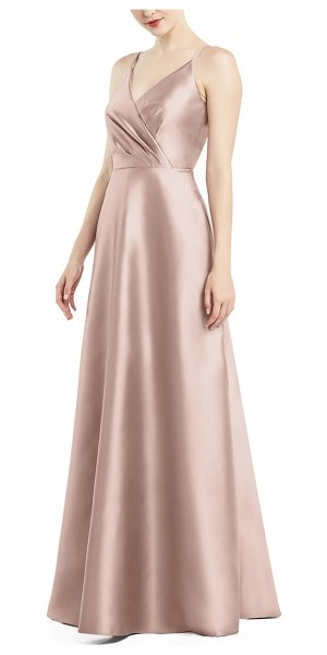 Alfred Sung satin twill a-line gown in pink