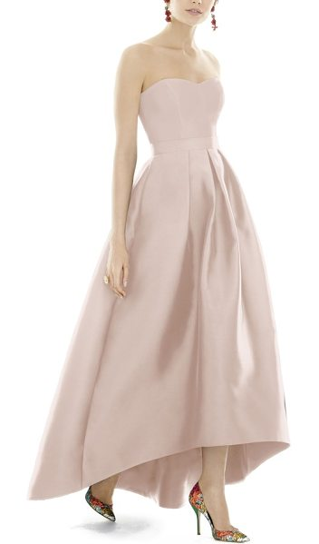 Alfred Sung strapless high/low sateen twill gown in blush - Subtly lustrous sateen twill illuminates the...