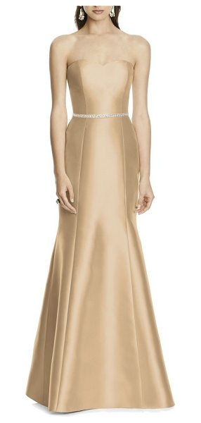 Alfred Sung strapless sateen trumpet gown in golden - A timeless design with a quietly stated elegance, a...