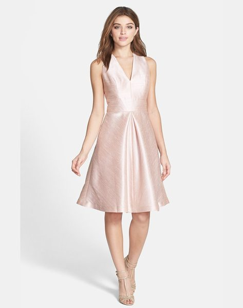 Alfred Sung v-neck dupioni cocktail dress in pearl pink - A sleeveless V-neck bodice, inset waist and full,...