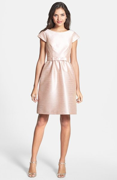 Alfred Sung woven fit & flare dress in pearl pink - A silky dupioni weave with gleaming jewel-tone luster...