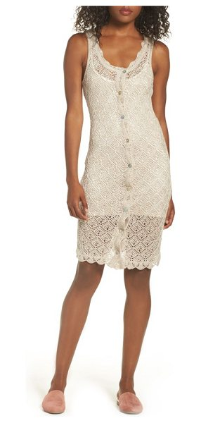 Ali & Jay picnic by the lagoon lace dress in sand - Take it easy on the weekends in this crocheted sheath...