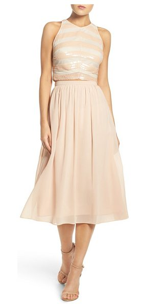 Ali & Jay sequin embellished two-piece dress in blush - Chevron stripes dazzle in liquid-like sequins across the...