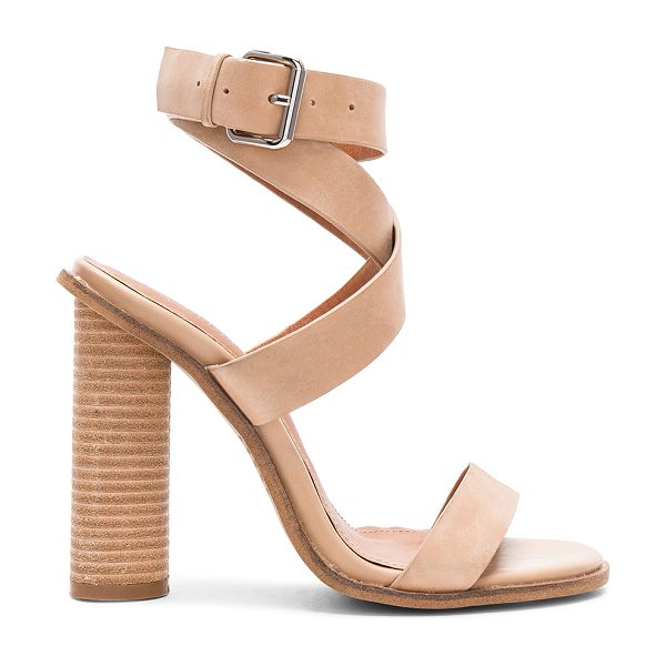 Alias Mae Abaala Heel in tan - Leather upper with man made sole. Wrap ankle with buckle...