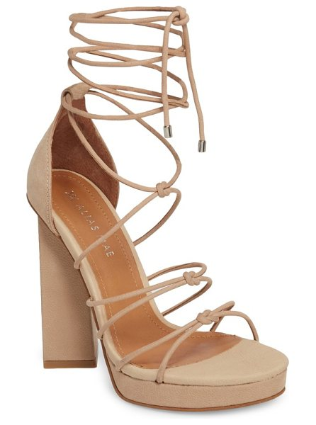 Alias Mae bordega ankle wrap sandal in natural leather - An angular statement heel and knotted, wraparound cord...