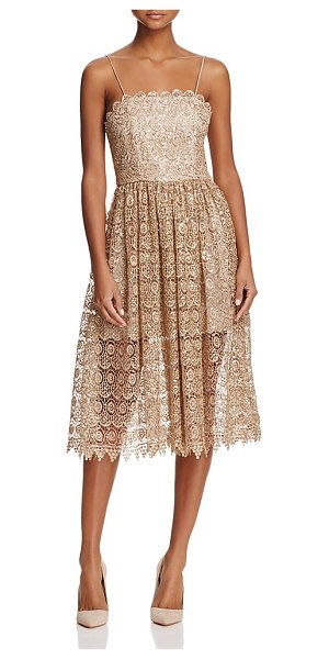 Alice + Olivia Alice + Olivia Alma Embroidered Lace Party Dress in gold
