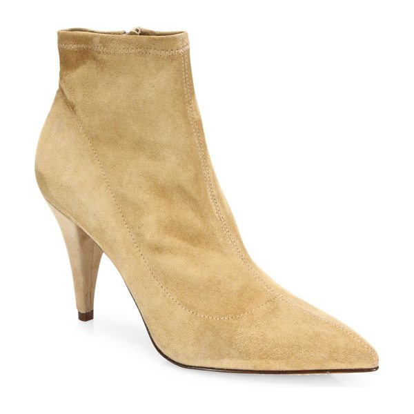 Alice + Olivia camryn suede point-toe booties in tan - Luxe suede silhouette finished with sharp point toe....