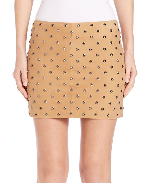 ALICE + OLIVIA Elana studded suede skirt - Allover studding excites this soft suede miniExposed...