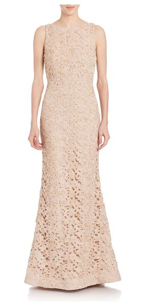 Alice + Olivia kacie embroidered open back gown in nude - An alluring open back lends drama to this embroidered...