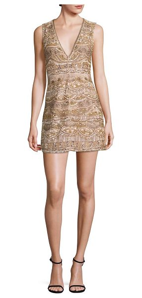 Alice + Olivia patty embellished silk dress in gold-multi - Embellished A-line dress with plunging neckline. Deep...