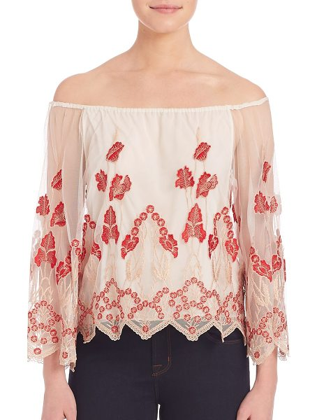 Alice + Olivia Priya embroidered blouse in cream-poppy - Sheer feminine top with pretty floral embroidery....