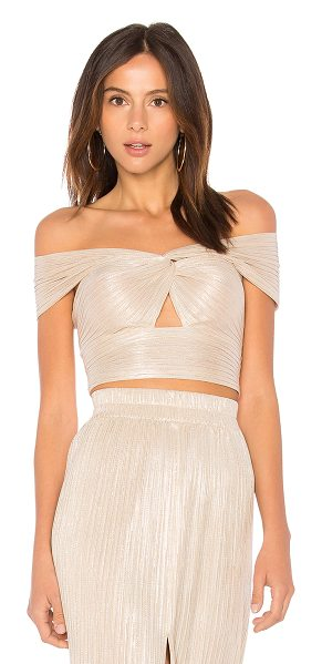 Alice McCall Le Girl Cropped Top in metallic gold - 85% poly 15% metal. Dry clean only. Knotted neckline...