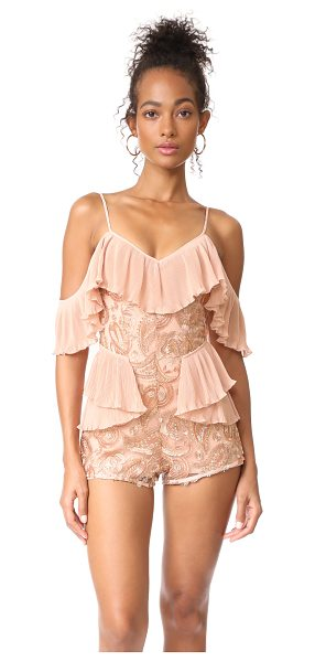 Alice McCall let's get loud romper in rose gold - NOTE: Sizes listed are UK/Australian. Metallic...