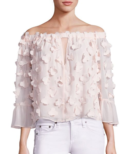Alice McCall love conquer 3d flower off-the-shoulder top in shellpink - 3D flower motifs add a whimsical pattern to this top....