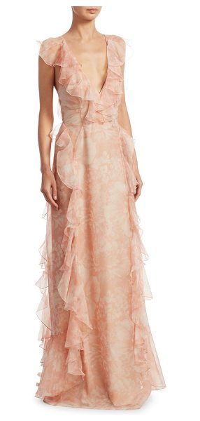Alice McCall oh my goodness floral gown in peach floral - Airy floral printed silk gown with ruffle trim. Deep...