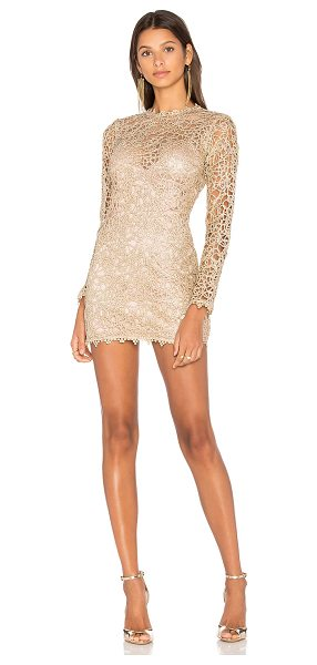 Alice McCall Pablo Mini Dress in gold - 100% poly. Dry clean only. Fully lined. Metallic allover...