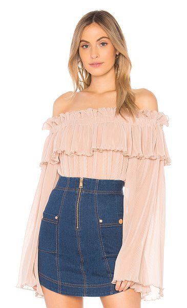 Alice McCall Pina Colada Top in blush - Poly blend. Dry clean only. Elasticized neckline. Ruffle...