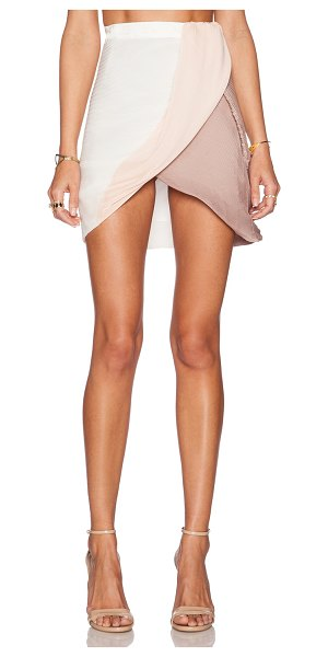 ALICE MCCALL Triple serve skirt in peach - Silk blend. Dry clean only. Pleated fabric. Wrap front...