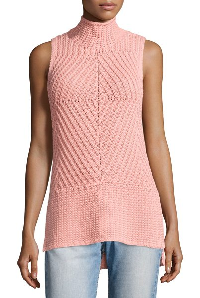 "ALICE + OLIVIA Abbot Sleeveless High-Low Mock-Neck Sweater - Alice + Olivia ""Abbot"" mixed-stitch sweater. Approx...."