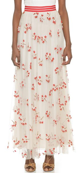 Alice + Olivia Adair wildflower tulle maxi skirt in off white/red/nude - Airy tulle and embroidered flowers bring an airy,...