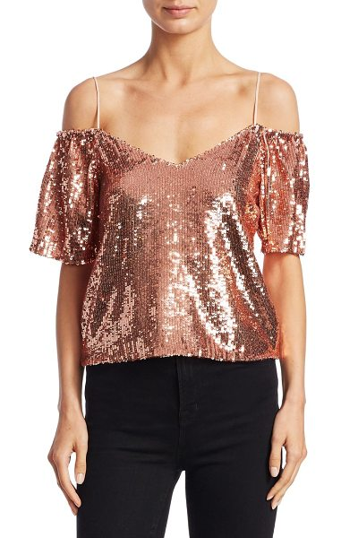 Alice + Olivia agatha cold-shoulder top in rose gold - EXCLUSIVELY AT SAKS.COM.Elegant top featuring allover...
