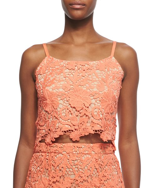 Alice + Olivia Alanis floral-crochet crop top in coral/nude - Alice + Olivia Alanis top in floral crochet with nude...