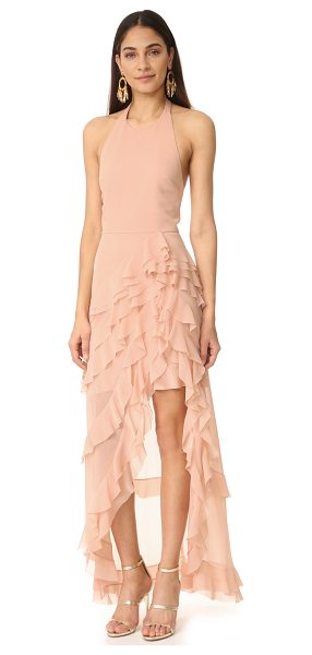Alice + Olivia carma asymmetrical ruffle gown in dusty pink - Layered, cascading ruffles bring graceful volume to this...