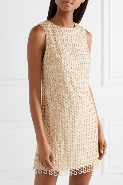 Alice + Olivia alice olivia - clyde sequined crochet-knit mini dress in beige