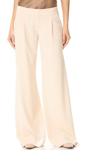 Alice + Olivia eric wide leg pleat front pants in champagne - Deep pleats lend graceful movement to wide-leg alice +...