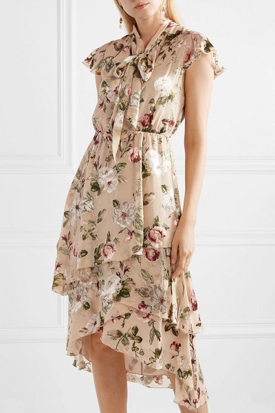 Alice + Olivia alice olivia - lavenia asymmetric tiered devoré-chiffon dress in beige - Alice + Olivia's 'Lavenia' dress is perfect for garden...