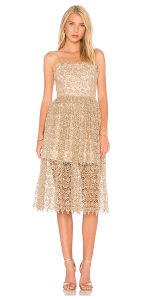Alice + Olivia Alma Dress in metallic gold - Self: 100% polyContrast: 91% silk 9% elastaneLining: 52%...