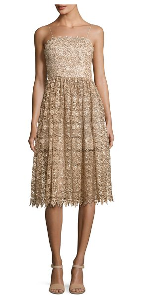 "ALICE + OLIVIA Alma Embellished Mid-Length Lace Party Dress - Alice + Olivia ""Alma"" cocktail dress in embellished..."