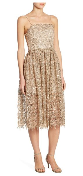 Alice + Olivia alma lace party dress in gold - Beaded knee-length party dress with lace embroidery....