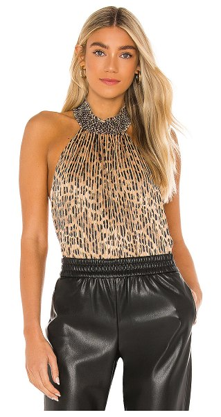 Alice + Olivia almira high smocked neck blouse in spotted leopard