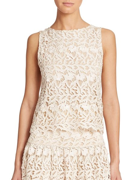 Alice + Olivia Amal sleeveless lace top in natural - This sleeveless boatneck top in romantic lace is an...