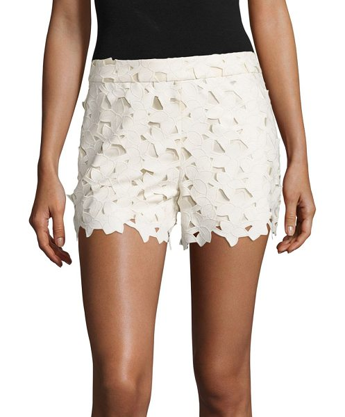 Alice + Olivia amaris faux leather & lace shorts in cream - Faux leather shorts with scalloped lace overlay. Banded...