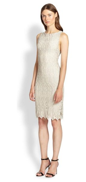 Alice + Olivia Amea lace dress in greymetallic - Alluring allover lace is cut into a simply elegant...