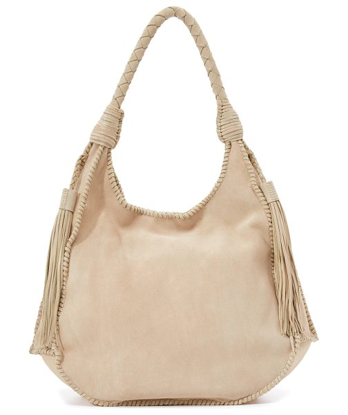 Alice + Olivia Andrew suede hobo bag in bone - A slouchy alice + olivia hobo bag with whipstitch side...