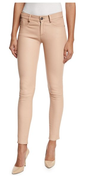 "Alice + Olivia Angie 5-pocket leather leggings in light pink - Alice + Olivia ""Angie"" leggings in lambskin leather...."