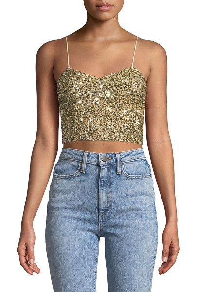 "Alice + Olivia Archer Embellished Cropped Cami Top in white/gold - Alice + Olivia ""Archer"" camisole with embellished..."
