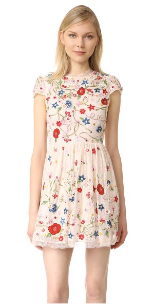 Alice + Olivia ariel embroidered cap sleeve dress in champagne/multi - NOTE: Runs true to size. Please see Size & Fit tab....
