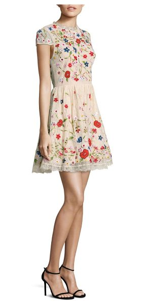 Alice + Olivia ariel embroidered dress in champagne multi - Gorgeous dress with embroidered floral patterns. Round...