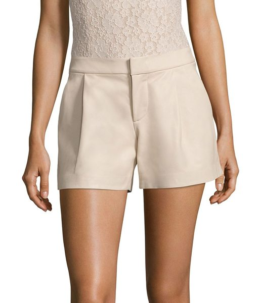 Alice + Olivia arosa pleated leather shorts in champagne - Pleated shorts tailored in smooth, supple leather....