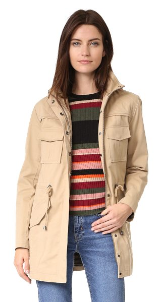 Alice + Olivia atticus oversized jacket in tan - Quilted shoulders accent this versatile twill alice +...