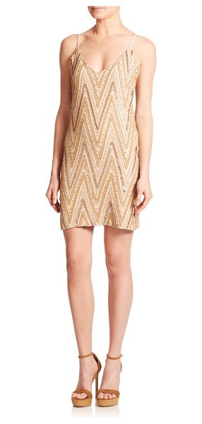 Alice + Olivia Avalon rhinestone embroidered chevron dress in nude-vachetta - Instantly alluring and glamorous, this...