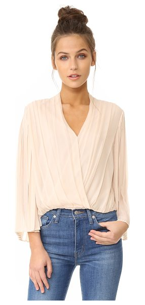 ALICE + OLIVIA axel cross front top in champagne - Deep pleats lend dimension to this silk crepe alice +...