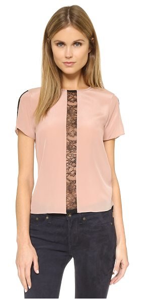 Alice + Olivia Bernadeth lace panel blouse in dusty pink/black - Inset lace panels reveal a veiled peek of skin on this...