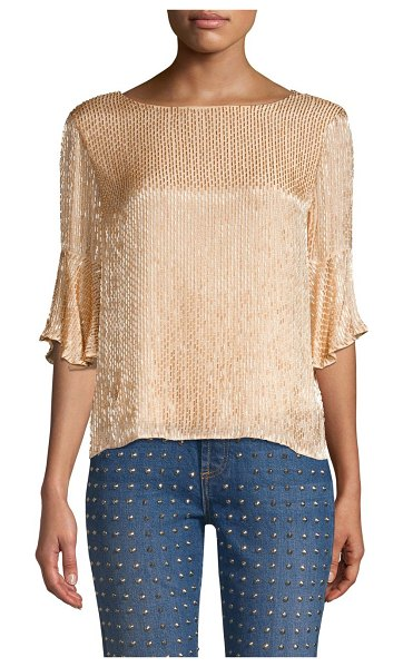 Alice + Olivia bernice embellished ruffle top in champagne